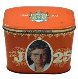 Vintage 25-years jubilee tin,  Queen Juliana 1948 - 1973