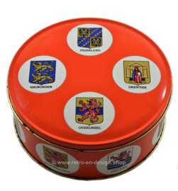 Vintage biscuit tin by Arks with Dutch provinces and the accompanying coats of arms