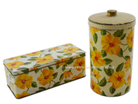 Vintage gingerbread tin and biscuit tin with yellow flowers and green leaf