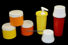 Tupperware set: stackable spice jars and dispensers for mustard and ketchup