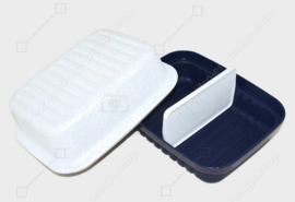 """Vintage Tupperware """"Cracker Server"""" with divider, in dark blue and white with speckles"""