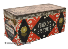 Rectangular tin box with paper wrapper for VERKADE Royal mixed biscuits