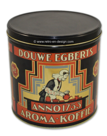 Round vintage storage tin for coffee by Douwe Egberts