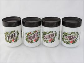 Complete set Retro-Vintage opaline Douwe Egberts voorraadpotten