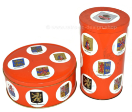 Vintage cookie tin and biscuit tin from Arks with 11 provinces and their coats of arms