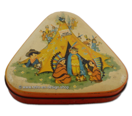 "Vintage triangular tin by George HORNER ""cowboys and Indians"""