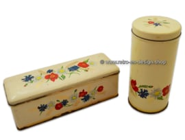 Vintage ARK rusk tin and gingerbread tin, wildflowers