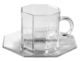 Glass tea or coffee cup with saucer by Arcoroc France, Luminarc Octime-Clear