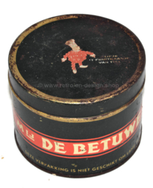 Vintage tin De Betuwe, Conpura prima rinse apple syrup with Flipje from Tiel