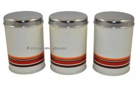 Set von drei vintage Brabantia Blechdosen
