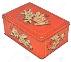 Lata rectangular vintage con un estilizado estampado floral con hoja