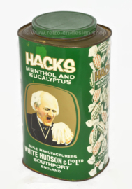 Large rare vintage HACKS tin in the color green