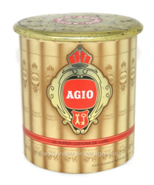 Round tin with images of cigars for 25 super corona de luxe cigars by Agio