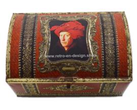 Vintage blik met Portret van een man met rode tulband