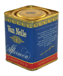 Blauw, blikken theebusje Van Nelle's Afternoon Tea, 128 gram