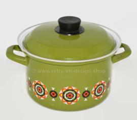 Olla vintage de los años 70, verde con detalles naranjas