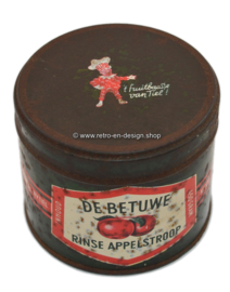 Blik Rinse appelstroop Kon. Mij de Betuwe Tiel, inh. 450 gram. Afbeelding Flipje