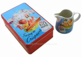 "Kellogg's ""Vintage"" tin and milk jug ""Swing to crispness"" for Rice Krispies"