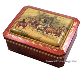 Vintage biscuit tin by Albert Heijn with an image of coach and horses