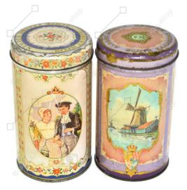 """Juego de dos latas de hojalata vintage para Albert Heijn """"Echte Zaanse Koeken"""""""