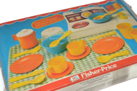 Vintage 24-piece Fisher-Price children's kitchen set with stove