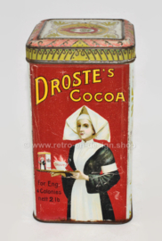 "Square Cocoa tin with hinged lid ""DROSTE'S CACAO"" in red and light blue"