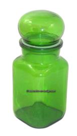Vintage apothekerspot in groen met afsluitdop