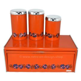 Orange bread bin and storage containers, design Diana, brand Brabantia