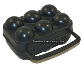 Vintage draagbare zwarte plastic eierhouder, eierdoos
