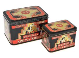 Vintage set bestaande uit een Douwe Egberts aroma-koffie blik en waardepunten doosje