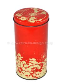 Lata de galleta o bizcocho Hooimeijer vintage en rojo decorado con flores blancas