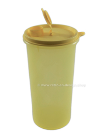 Vintage Tupperware handolier storage container with pouring spout, yellow transparent
