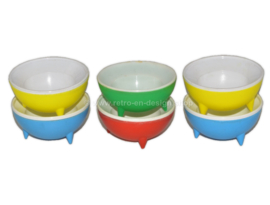 Set of six vintage plastic egg cups from the 1960s to 1970s UFO model, space age