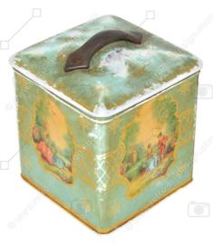 Vintage Teedose in Würfelform mit Griff und romantischen Szenen