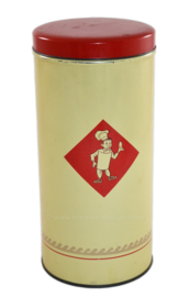 Light cream/yellow tin biscuit canister made by Bolletje with red lid