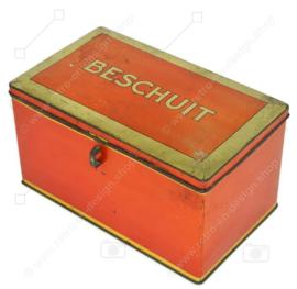 Vintage orange Blechdose mit goldener Paspelierung für Zwieback