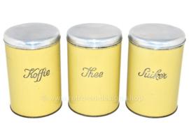 Juego de tres latas vintage para café, té y azúcar