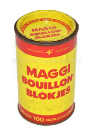 Geel met rode vintage blikken bus voor MAGGI bouillonblokjes