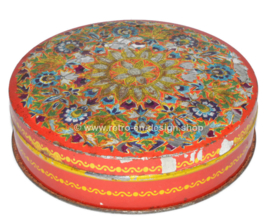 Round vintage tin by Droste, red and multicolored