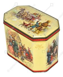 Vintage blik met afbeelding van koets en koetsier met vier paarden en passagiers