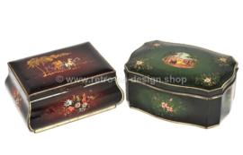Set van twee vintage blikken Douwe Egberts trommels voor Pickwick thee