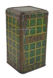 Brocante green tea tin with yellow squares
