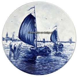 Crockery decorative plate, Sailboat. Delftware handpainted. Made in Holland