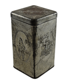 Silver-colored sugar tin made by De Gruyter with various images