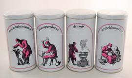 Set of four vintage storage tins from Estel Hoogovens, various crafts