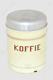 Brocante enamelled tin storage container for coffee