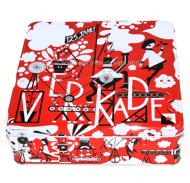 Square cookie tin 125 years Verkade in red, white and black