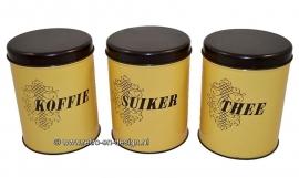 Vintage set Blikken. Koffie, suiker, thee