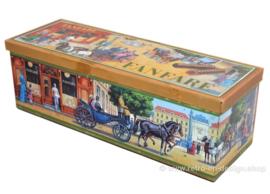 Vintage rechteckige Blechdose für Fanfare Schokoladen