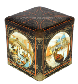 Square vintage cocoa tin in cube shape with images of Venice  for C.J. VAN HOUTEN